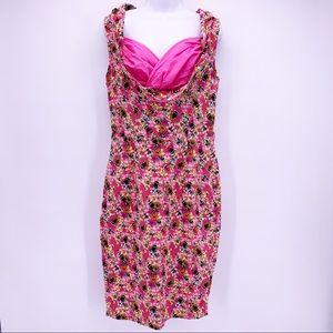 Lindy Bop Vanessa Pink Bee Floral Pencil Dress